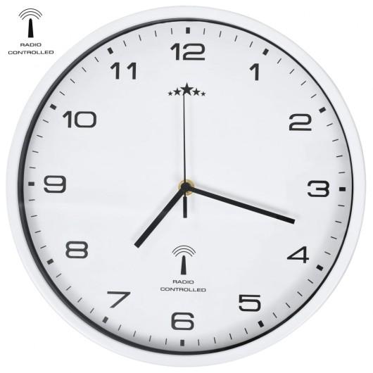 Reloj de pared radiocontrol movimiento de cuarzo 31 cm blanco