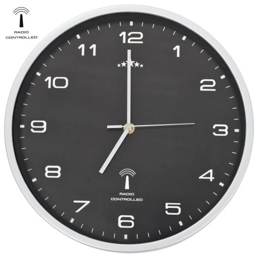 Reloj de pared radiocontrol movimiento de cuarzo 31 cm negro