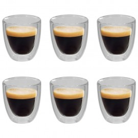 Vasos de cristal térmico doble pared para café 6 uds 80 ml