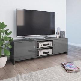 Mueble de TV de aglomerado gris brillante 120x30x37,5 cm