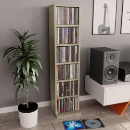 Estantería para CD de aglomerado color roble Sonoma 21x16x88 cm