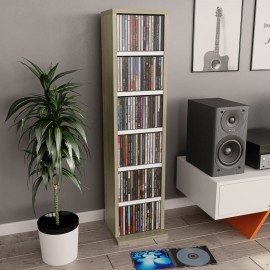 Estantería CDs de aglomerado blanco y roble Sonoma 21x16x88 cm