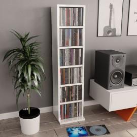 Estantería para CDs de aglomerado blanco brillante 21x16x88 cm