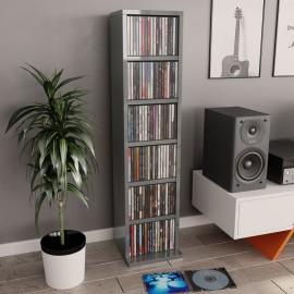 Estantería para CD de aglomerado gris brillante 21x16x88 cm