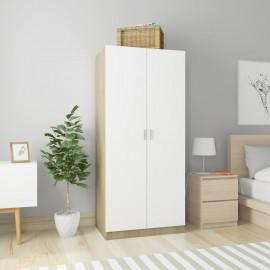 Armario de aglomerado color blanco y roble Sonoma 80x52x180 cm