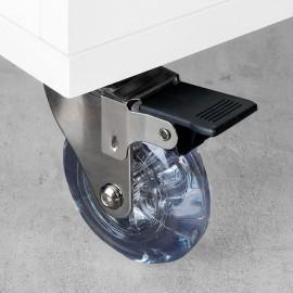 Ruedas con placa de montaje, D.75 mm, Acero y plástico, Transparente, 4 ud.