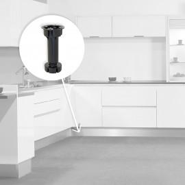 pie nivelador con base premontada para mueble, regulable 118 -135 mm, Plástico, Negro, 40 ud.