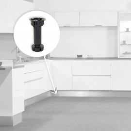 pie nivelador con base premontada para mueble, regulable 148-165 mm, Plástico, Negro, 40 ud.