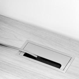 Pasacables mesa, rectangular, 158 x 80 mm, para encastrar, Aluminio, Anodizado mate, 5 ud.