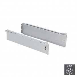Kit cajón de cocina Ultrabox, altura 118 mm, prof. 450 mm, Acero, Gris metalizado, 10 ud.