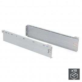 Kit cajón de cocina Ultrabox, altura 118 mm, prof. 500 mm, Acero, Gris metalizado, 10 ud.