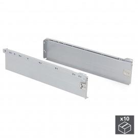 Kit cajón de cocina Ultrabox, altura 150 mm, prof. 500 mm, Acero, Gris metalizado, 10 ud.