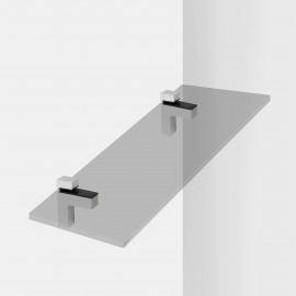 Soporte para estante de madera/cristal, espesor 4-38mm, Plástico y zamak, Gris metalizado, 2 ud.