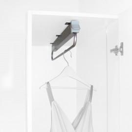 Colgador extraible para armario, 800 mm, Acero y plástico, Gris metalizado