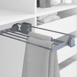 Pantalonero lateral extraible para armario, 460 mm, Acero y plástico, Gris metalizado