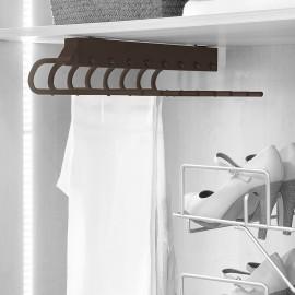 Pantalonero extraible para armario, montaje izquierda, Acero y plástico, color moka