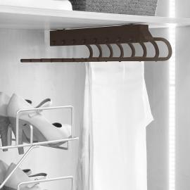 Pantalonero extraible para armario, montaje derecha, Acero y plástico,color moka