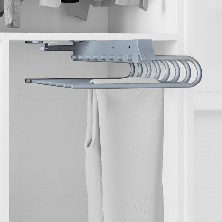 Pantalonero extraible para armario, montaje derecha, Acero y plástico, Gris metalizado