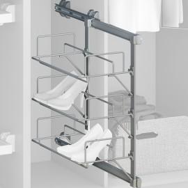 Zapatero extraíble para interior de armario, Acero y plástico, Gris metalizado