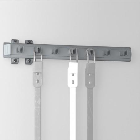 Porta cinturones lateral extraible para armario, 447 mm, Aluminio y plástico, Anodizado mate