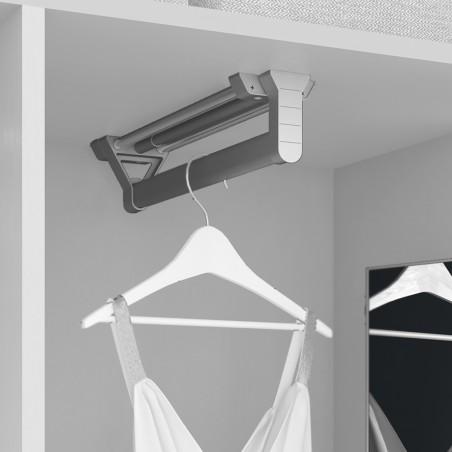Colgador extraible para armario, 350 mm, Aluminio y plástico, Anodizado mate