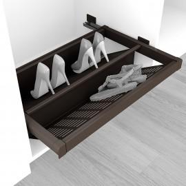 Zapatero extraible para interior de armario, módulo de 600 mm, cierre suave, Acero, color moka