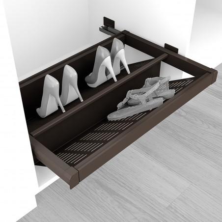 Zapatero extraible para interior de armario, módulo de 900 mm, cierre suave, Acero, color moka