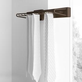 corbatero lateral extraible, con cierre suave, Aluminio y plástico, color moka