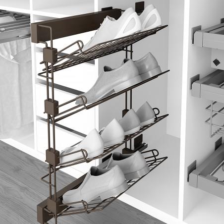 Zapatero lateral extraíble para interior de armario, montaje izquierda, Acero, color moka