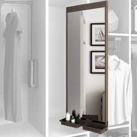 Espejo extraible para armario, 1130 x 415 mm, cierre suave, Aluminio, color moka