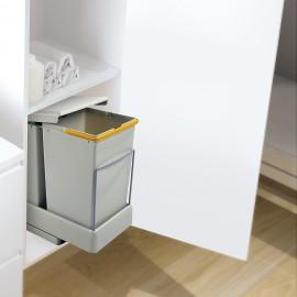 Contenedor de reciclaje, fijación inferior, extración y tapa automatica, 2 cubos de 14 litros, Plástico, Gris