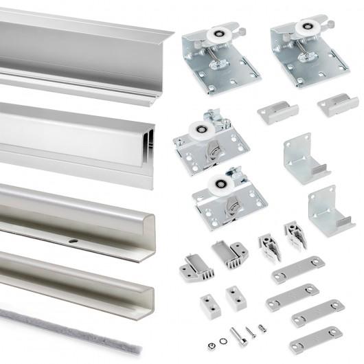 Sistema corredero para armario 2 puertas colgadas, espesor 16 mm, antidescarrilamiento, perfiles aluminio, Gris metalizado