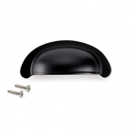 Tiradores para mueble, intereje 64 mm, Zamak, Negro