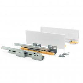 Kit cajón de cocina Concept, altura 138 mm, prof. 300 mm, cierre suave, Acero, Blanco