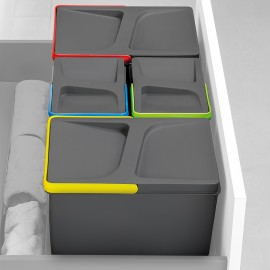 Contenedores de reciclaje, 12 L + 12 L + 6L + 6 L, módulo 900 mm, Plástico, Gris antracita, 4 ud. + Base