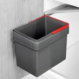 Contenedor de reciclaje, 15 L, fijación puerta, apertura tapa automatica, Plástico, Gris antracita