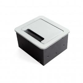 Multiconector de mesa, 2 USB +1 HDMI + 1 enchufe EU, 145x130 mm, Acero y aluminio, color aluminio