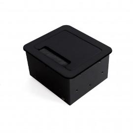 Multiconector de mesa, 2 USB +1 HDMI + 1 enchufe EU, 145x130 mm, Acero y aluminio, Negro