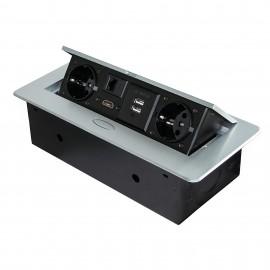 Multiconector de mesa, 2 USB +1 HDMI + 2 enchufes EU, 265x120 mm, Acero y aluminio, color aluminio