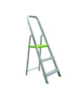 Escalera Domestica Tijera 0,62Mt 3 Peldaños Barandilla Baja Aluminio  Vivahogar