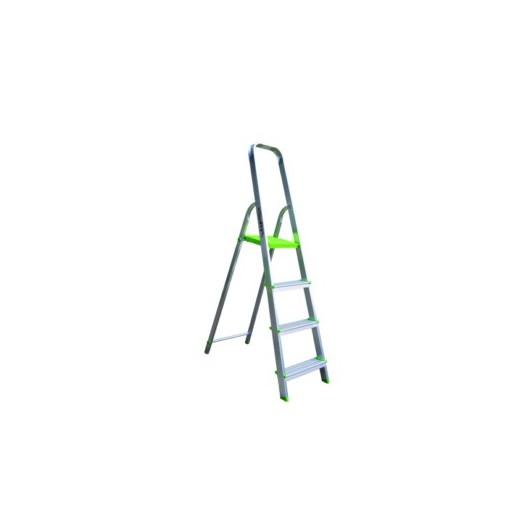 Escalera Domestica Tijera 0,87Mt 4 Peldaños Barandilla Baja Aluminio  Vivahogar