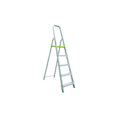 Escalera Domestica Tijera 1,11Mt 5 Peldaños Barandilla Baja Aluminio  Vivahogar
