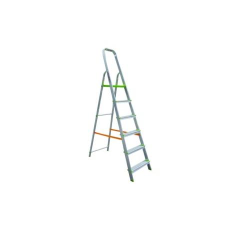 Escalera Domestica Tijera 1,34Mt 6 Peldaños Barandilla Baja Aluminio  Vivahogar