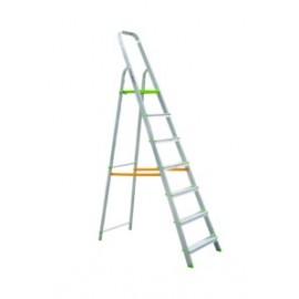 Escalera Domestica Tijera 1,58Mt 7 Peldaños Barandilla Baja Aluminio  Vivahogar