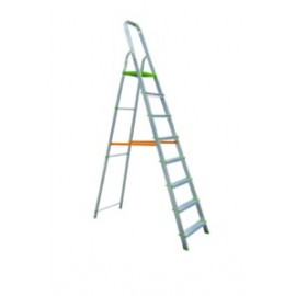 Escalera Domestica Tijera 1,82Mt 8 Peldaños Barandilla Baja Aluminio  Vivahogar