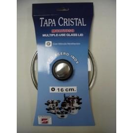 Tapa Bateria Cocina 16Cm Valvula Ventilacion Aro Inox-Cristal Tecnhogar