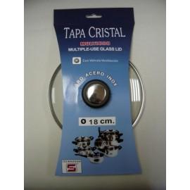 Tapa Bateria Cocina 18Cm Valvula Ventilacion Aro Inox-Cristal Tecnhogar
