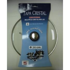 Tapa Bateria Cocina 26Cm Valvula Ventilacion Aro Inox-Cristal Tecnhogar