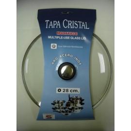Tapa Bateria Cocina 28Cm Valvula Ventilacion Aro Inox-Cristal Tecnhogar