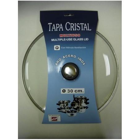 Tapa Bateria Cocina 30Cm Valvula Ventilacion Aro Inox-Cristal Tecnhogar